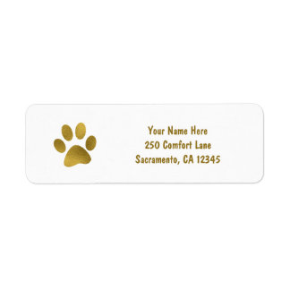 Gold Puppy Dog Paw Faux Gold Return Address Label