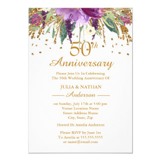 Gold Purple Amethyst Floral 50th Anniversary Card
