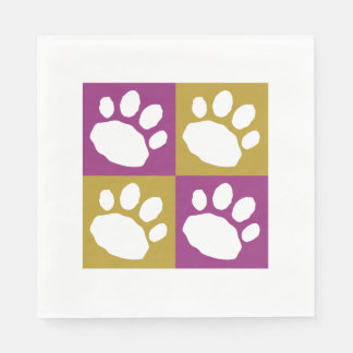Gold, Purple, and White Animal Print Silhouette Disposable Napkins