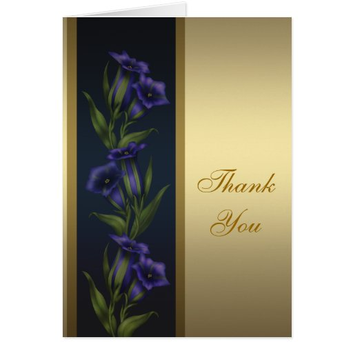 Gold Purple Crystal Violets Gold Thank You Card