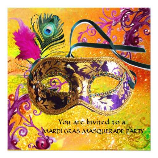 GOLD PURPLE DAMASK FEATHER MASK Masquerade Party Announcement
