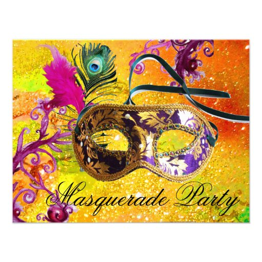 GOLD PURPLE DAMASK FEATHER MASK Masquerade Party Personalized Invitation