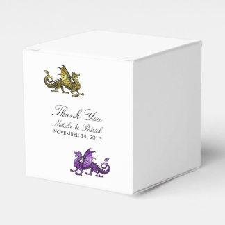 Gold Purple Dragon Wedding Favor Boxes
