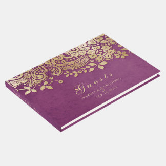 Gold purple elegant lace wedding guest book
