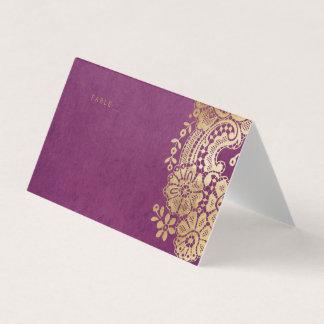 Gold purple elegant lace wedding place cards