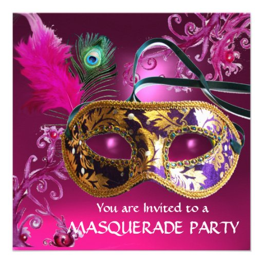 GOLD PURPLE FEATHER DAMASK  MASK Masquerade Party Personalized Invite