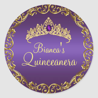 Gold & Purple Gem Tiara Quinceanera Sticker
