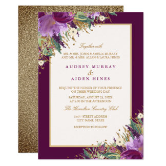 Gold Purple Glitter Amethyst Floral Wedding Card