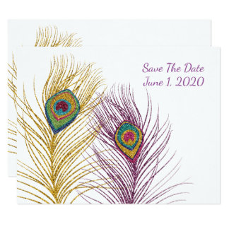Gold Purple Glittery Peacock Feather Save The Date Card