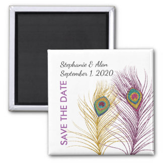 Gold Purple Glittery Peacock Feather Save The Date Square Magnet