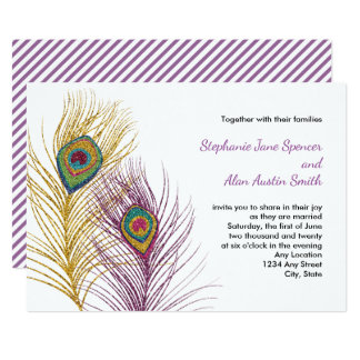 Gold Purple Glittery Peacock Feathers Wedding Card