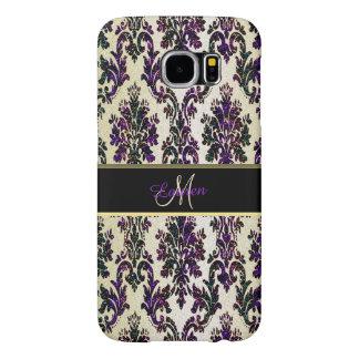 Gold Purple Gold Glitter Damask Galaxy S6 Case