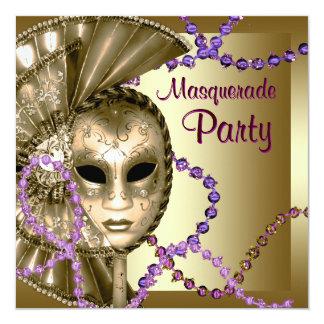 Gold Purple Mardi Gras Beads Masquerade Party Card