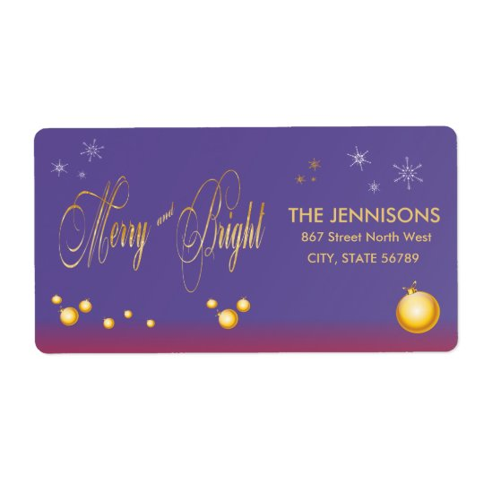 Gold Purple Merry and Bright Christmas Shipping Label