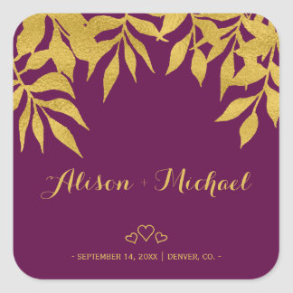 Gold purple mulberry fall leaves hearts wedding square sticker