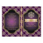 Gold, purple snowflake folded wedding program full color flyer