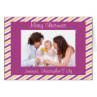 Gold & Purple Stripes Custom Photo Christmas Card