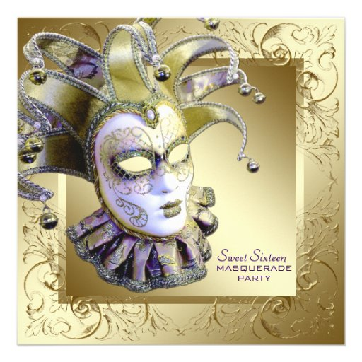 Gold Purple Sweet Sixteen Masquerade Party Personalized Invitation