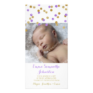 Gold Purple  Thank You Baby Shower Photo Cards