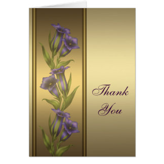Gold Purple Violets Gold Thank You Card