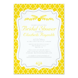 Gold Quatrefoil Bridal Shower Invitations
