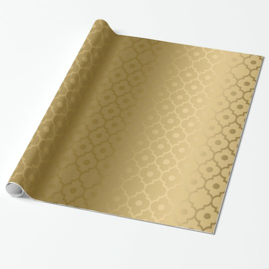 Gold Quatrefoil Geometric Pattern Wrapping Paper