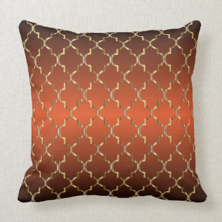 Gold Quatrefoil Pattern on Burnt Orange Throw Pillow