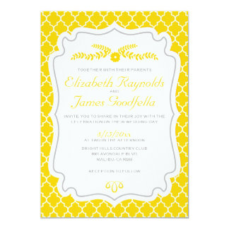 Gold Quatrefoil Wedding Invitations