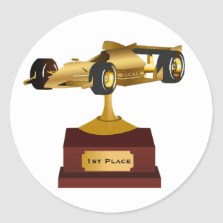 Gold Race Car Trophy Sticker