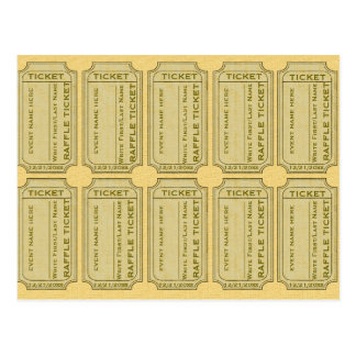 Gold Raffle Tickets Postcard