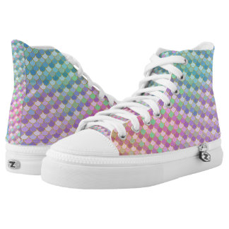 Gold Rainbow Ombre Mermaid Scales High Tops
