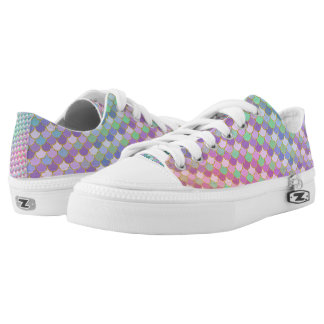 Gold Rainbow Ombre Mermaid Scales Low-Top Sneakers