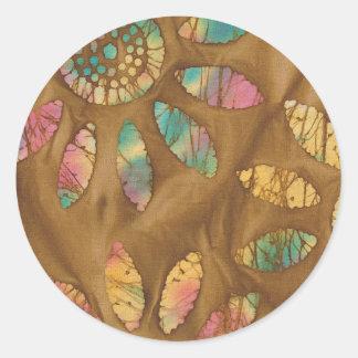 Gold Rainbow Pastels Daisy Flower Batik Round Sticker