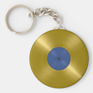 Gold Record with Blue Label Basic Round Button Keychain