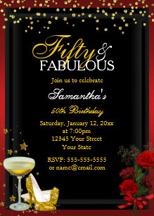 50 fabulous 50th birthday invitations announcements zazzle ca gold red 50 fabulous birthday invitation filmwisefo