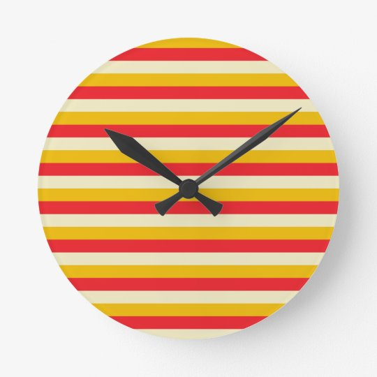 Gold, Red and Beige Stripes Wall Clock