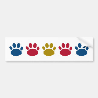 Gold, Red, and Blue Animal Paw Prints Bumper Sticker