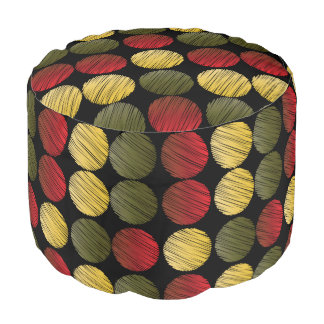 Gold, Red and Olive Green Scribble Circle Pattern Pouf