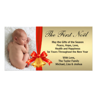 Gold Red Bells Baby's First Christmas Photo Card