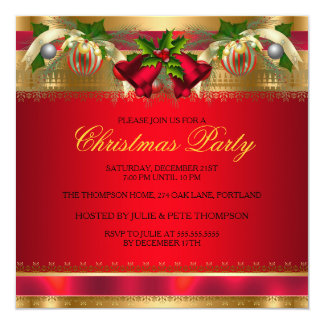 "Gold Red bells & Baubles Christmas Party Bow 5.25"" Square Invitation Card"