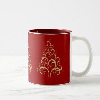 Gold red Christmas tree Mugs