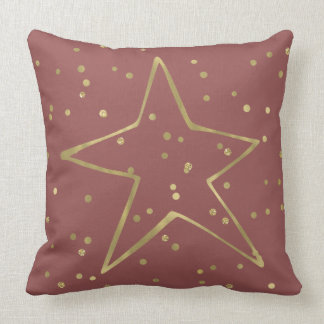 Gold Red Confetti Star Throw Pillow