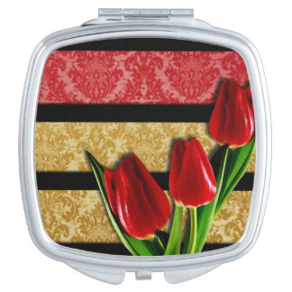 Gold Red Damask Black Stripes & Tulips Mirror For Makeup