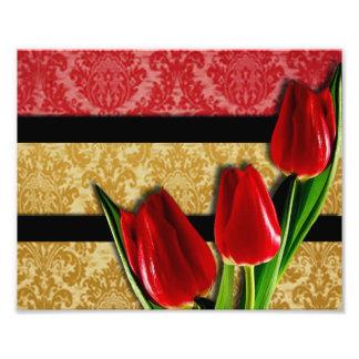 Gold Red Damask Black Stripes & Tulips Photo Print