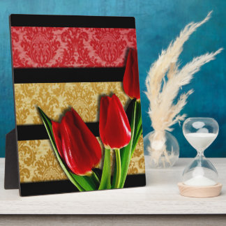 Gold Red Damask Black Stripes & Tulips Plaque
