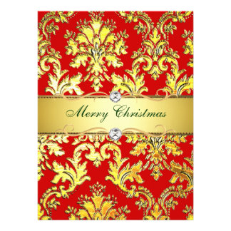 Gold Red Damask Christmas  Photocard template Personalized Invite