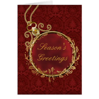 Gold Red Damask Corporate Christmas Card