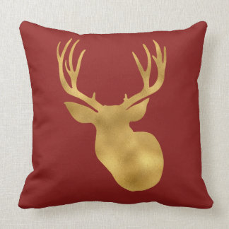 Gold Red Deer Throw Pillow