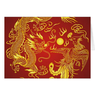 Gold Red Dragon Phoenix Chinese Wedding Favor Note Card