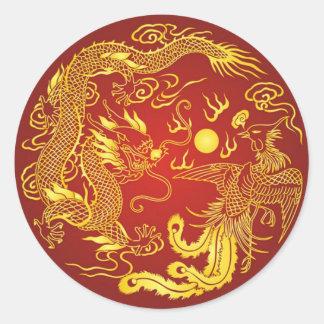 Gold Red Dragon Phoenix Chinese Wedding Favour Round Sticker